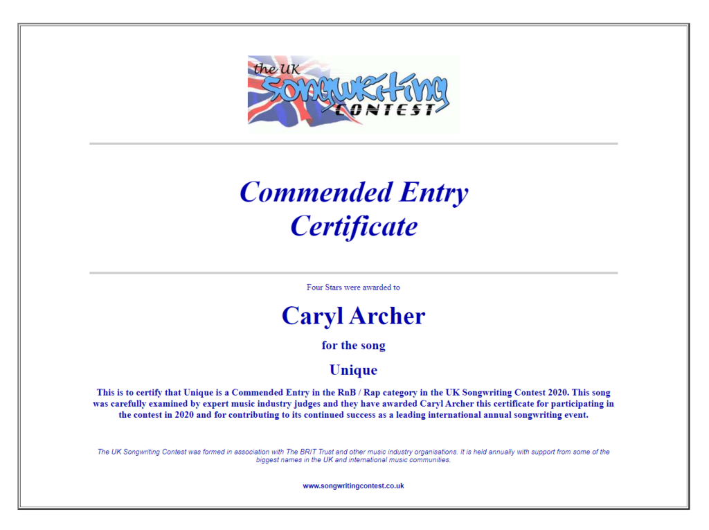 The UK Songwriting Contest Commended Entry Certificate