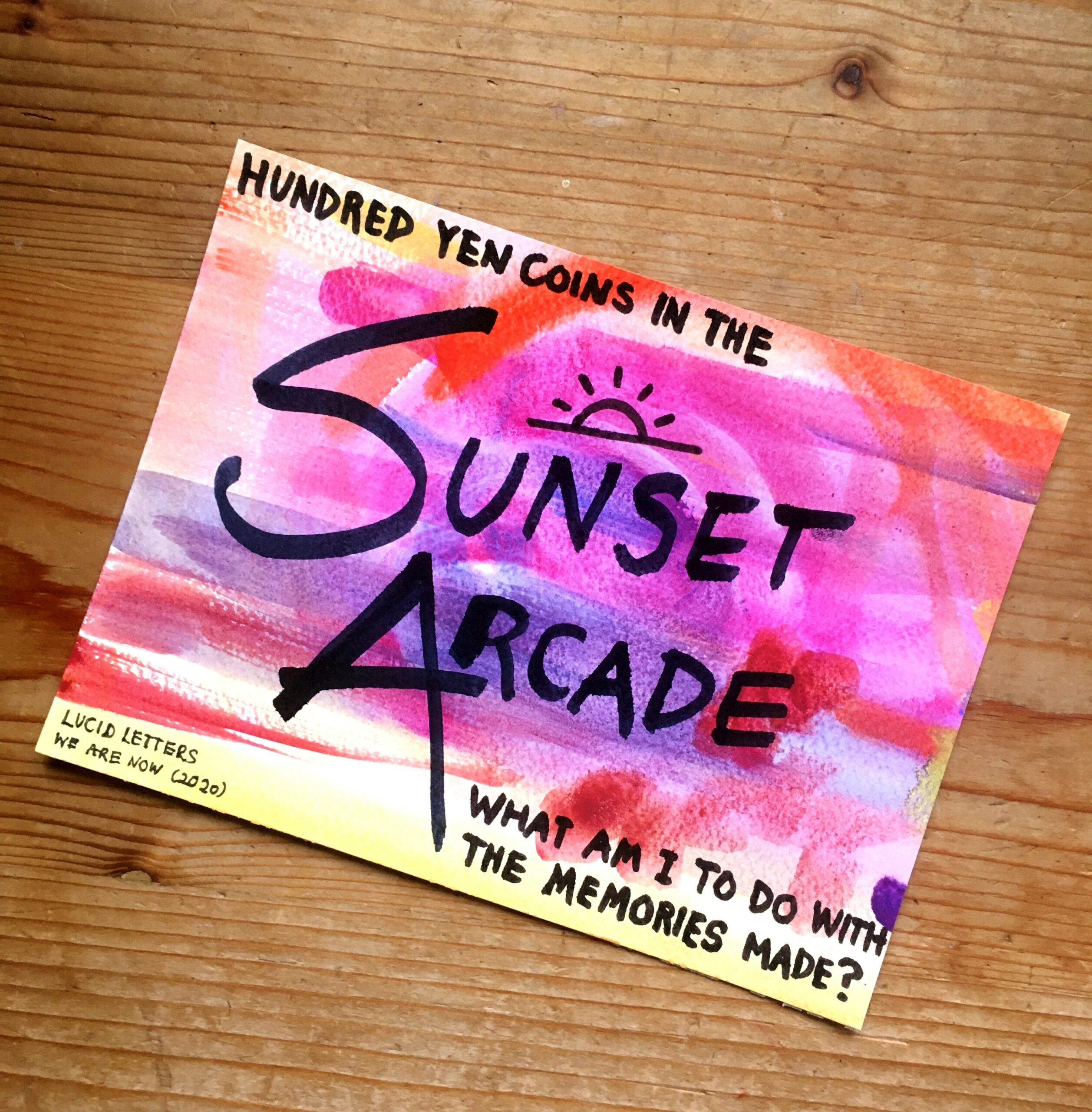 Sunset Arcade lyric artwork by Lucid Letters